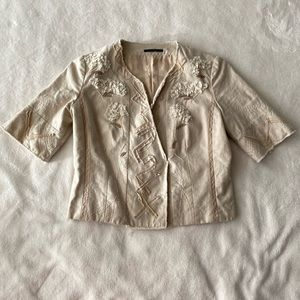 Elie Tahari crop floral appliqué linen jacket